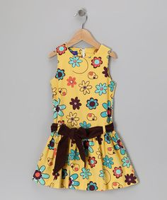 Take a look at this Yellow Floral Sash Dress - Toddler & Girls by Cotton Blu & Cotton Pink on #zulily today!