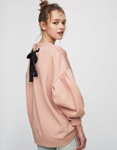 Pull&Bear - woman - clothing - what's new - printed sweatshirt with cords on the back of sleeves - nude - 05592365-V2017