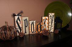 SPOOKY Halloween Home Decor Wooden Block Sign. $20.00, via Etsy.
