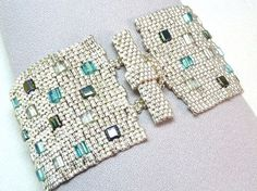 Aquarium Bricks Beadwoven Cuff Bracelet - Another Brick in the Wall Collection, toggle and clasp