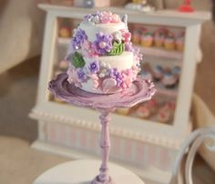 Dollhouse Miniature - 2 - Tier Vanilla Frosted Cake Garnished with Flowers and Butterflies - 1/12th Scale