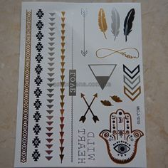 Флеш Flash татуировки временные тату золотые серебряные черные Gold Silver Black Цепочки браслеты Перо треугольники стрелы крестик 017