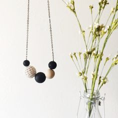 Crochet, Wood, Lava Beaded Essential Oil Necklace Diffuser Aromatherapy - Silver Minimalist Lava Beads Diffuser Necklace