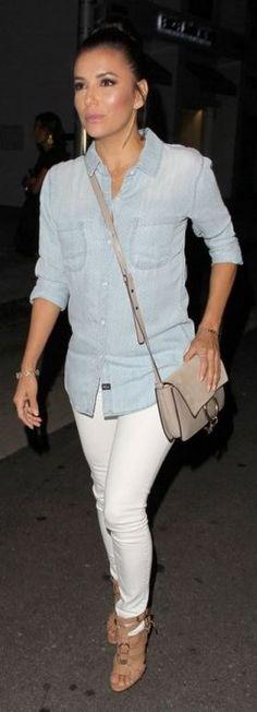 Who made Eva Longoria's gold jewelry, blue denim shirt, tan sandals, and suede beige handbag?