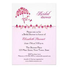 pink floral umbrella bridal shower invitation
