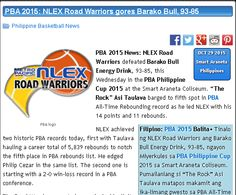"http://pilipinasbasketball.com/news/pba-2015-nlex-road-warriors-gores-barako-bull-93-85/  PBA 2015: NLEX Road Warriors gores Barako Bull, 93-85 #pilipinasbasketball #PBA2015 #NLEXRoadWarriors #BarakoBull  PBA 2015 News: NLEX Road Warriors defeated Barako Bull Energy Drink, 93-85, this Wednesday in the PBA Philippine Cup 2015 at the Smart Araneta Coliseum. ""The Rock"" Asi Taulava barged to fifth spot in PBA All-Time Rebounding record as he led NLEX with his 14 points and 11 rebounds."