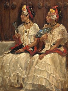 Jarochas II by Gladys Roldan-de-Moras Oil ~ 48 x 36