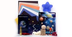 Your child will learn about planets & constellations! This Toolbox includes a real meteorite, a beautiful brass telescope, & hand painted planet models