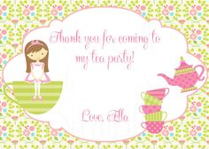 Tea Party Birthday Theme Printable Thank you por TheLovelyMemories, $8.00