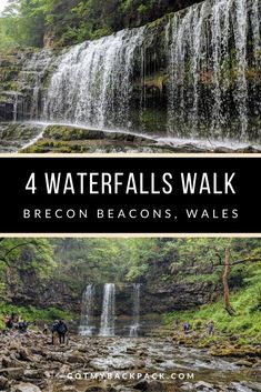 The four falls walk is a series of 4 waterfalls along a trail in the Brecon beacons, including one which you can walk behind. The four waterfalls trail includes Sgwd Clun-Gwyn, Sgwd Isaf Clun-Gwyn, Sgwd Y Pannwr and my favourite, Sgwd Yr Eira. Beautiful Places To Visit, Cool Places To Visit, Places To Travel, Travel Destinations, Cardiff, Visit Uk, Visit Wales, Monteverde, Waterfall Trail