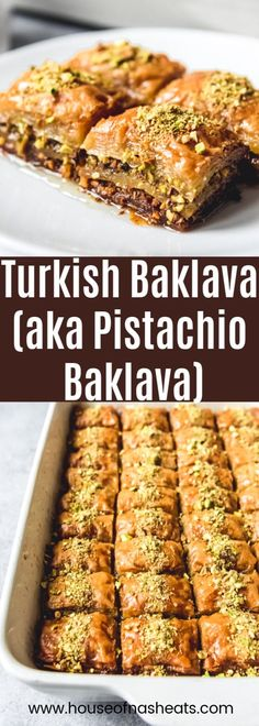 Turkish Baklava also known as Fistikli Baklava or Pistachio Baklava is a deliciously rich buttery sweet dessert made from phyllo dough finely ground pistachios butter and a syrup made from sugar water and lemon juice. Turkish Recipes, Greek Recipes, Baclava Recipe, Best Dessert Recipes, Delicious Desserts, Phyllo Dough, Middle Eastern Recipes, Mediterranean Recipes, International Recipes