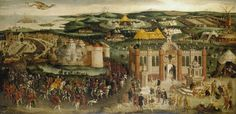The Field of the Cloth of Gold c. 1545. The meeting between Henry VIII and Francis I. The English party was based at the town of Guisnes, seen in the left half of the painting. The king entered the town on 5 June accompanied by Catherine of Aragon, who appears not to be represented in the procession. Several member of the king's suite on horseback can be identified: Sir Thomas Wriothesley, Garter King of Arms, and Thomas Grey, Marquess of Dorset, who carries the Sword of State, precede the…