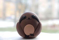 Sloth Figurine / Kawaii Chicken-Egg-Shaped Cake Topper / Collectible Toy by Naboko Studio Sloth Cakes, Birthday Cake Toppers, Cake Birthday, Chicken Eggs, Pugs, Kawaii, Sloths, Easter Ideas, Rabbits