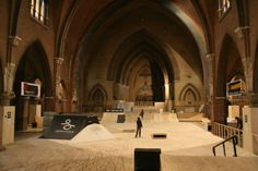 """Church use is in decline in The Netherlands, so they turned one in Arnhem into a """"sweet"""" skate spot Cool Skateboards, Skate Decks, Skate Park, Pavilion, In This World, Netherlands, Cathedral, Hunting, Places To Visit"""