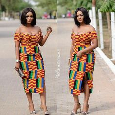 Look Stunning, Slinky & Hot With The Latest Kente Styles – Rendy Trendy African Print Dresses, African Dresses For Women, African Attire, African Wear, African Fashion Dresses, African Women, African Prints, Ankara Fashion, African Style