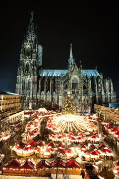 "worldheritagesites: "" Christmas in Cologne - Germany "" Cologne Cathedral Begun in 1248, the construction of this Gothic masterpiece took place in several stages and was not completed until 1880. Over..."