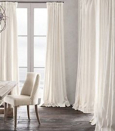 Restoration Hardware's Belgian Heavyweight Textured Linen Drapery:Heavyweight Textured Belgian Linen Drapery- restoration hardware heavyweight belgium linen curtains w/ french pleat- love in mink or maybe charcoal Silk Curtains, Curtains Living, White Curtains, Dining Room Drapes, Window Curtains, Bedroom Drapes, Long Curtains, Bathroom Curtains, Master Bedroom