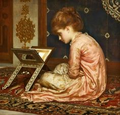 At a Reading Desk 1877 - Sir Frederic Lord Leighton - (English: 1830 - 1896)
