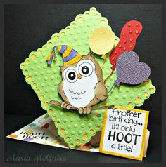 """Birthday Whoot Set (4125) card by Maria McGuire. Great tutorial on """"spring"""" cards!"""