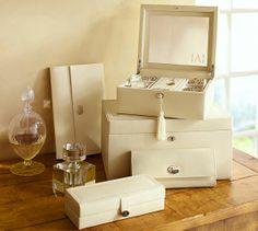 McKenna Leather Medium Jewelry Box   Pottery Barn