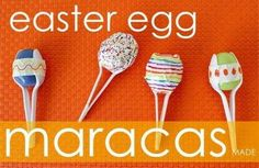 MARACAS/PURIM GROGGERS made from those little platic easter eggs... not mixing holidays here!