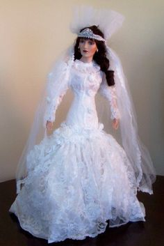 "NIB Exquisite Maryse Nicole Franklin Mint Bride Doll Very RARE 22"" - Ariel"