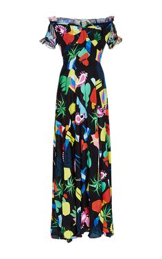 Silk Printed Off The Shoulder Carolina Dress by ISOLDA Now Available on Moda Operandi