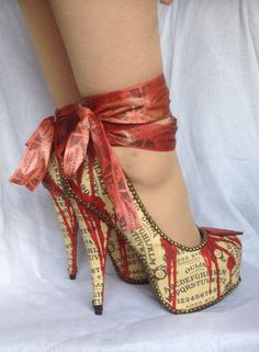 Bloody Zombie Ouija Board Ankle Tie Heels on Etsy, £120.00