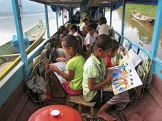 Library boat for Lao children on the Mekong and Ou rivers.