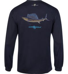 Men's Sailfish Embroidery L/S UV Fishing T-Shirt