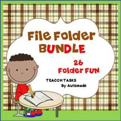 26 File Folder BUNDLE (TEACCH, Speech Therapy,Visuals)These file folders are 3 of my other file folder packages bundled together to make one so take care not to buy this bundle with any of the 3 file folder packages below.This bundle includes :- 1. TEACCH Matching games 2. 11 File folder Games 3.