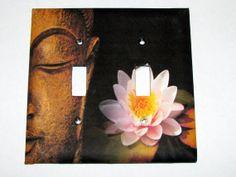 Double Light Switch Cover - Light Switch Plate  Zen Buddha Lotus