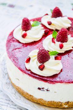 Cheesecake cu zmeura si rodii - Din secretele bucătăriei chinezești Pavlova, Carrot Cake, Pomegranate, Carrots, Panna Cotta, Raspberry, Bakery, Cheesecake, Food And Drink