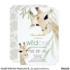 Shop Giraffe Wild One Watercolor Gray Baby Shower Invitation created by applemeadowzoo. Personalize it with photos & text or purchase as is! Baby Shower Giraffe, Grey Baby Shower, Gender Neutral Baby Shower, First Birthday Invitation Cards, Baby Shower Invitation Cards, Invitation Ideas, Giraffe Pattern, Safari Party, Baby Shower Parties