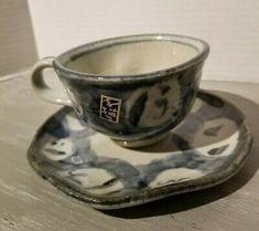 Set of 4 Pottery Barn Bistro Blue Cup & Saucer Sets Cup And Saucer Set, Tea Cup Saucer, White And Blue Flowers, Bone China Tea Cups, Polish Pottery, Vintage Yellow, Blue Design, Sign Design, Tea Mugs