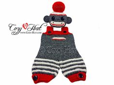 Sock Monkey Romper Bodysuit Coverall Set READY TO SHIP by CozyHat