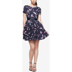 Fame and Partners Printed Fit & Flare Dress ($215) ❤ liked on Polyvore featuring dresses, pastel garden, mini dress, short dresses, holiday dresses, cap sleeve cocktail dress and cocktail party dress