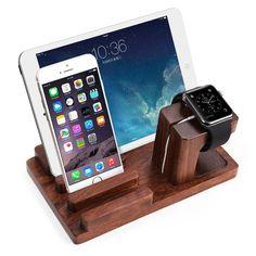 Apple Watch Stand, AmorTek [3-in-1] Bamboo Wood Charge Dock Stand for Apple Watch / Tablet/ Smartphones/ Pen Holder&Docking Station Cradle Bracket