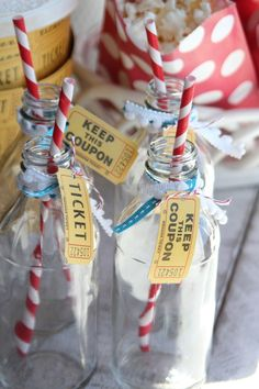 "Cute idea for drinks-from a ""vintage circus"" themed party idea"