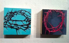 """duo of thorns    8"""" x 8"""" each"""