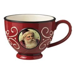 Grasslands Road Old World Santa Ceramic Teacup, Red