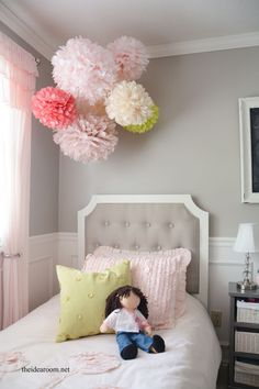 Tissue Paper Pom Poms Tutorial. Bedroom Decor KidsDiy Girl Room ...