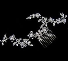 Elegant Rhinestone and Crystal Vine Comb by Bridal Accessories Outlet ~ $46.00 ~ Bridal Accessories Outlet is your one stop shop for the finest in affordable designer quality wedding accessories and jewelry at discount prices.  Inexpensive but never cheap hair combs, flowers, tiaras, birdcage, short and long veils, earrings, belts, jewelry, bracelets, hair pins, shoe clips, bustle clips and more for the bride and bridesmaids.  Bridal Accessories Outlet is a division of Hair Comes the Bride…