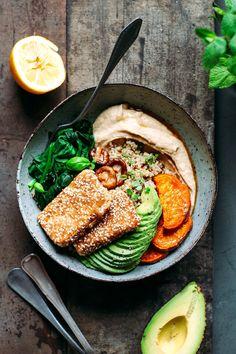 Sesame crusted hoisin tofu bowls - full of plants vegan meals, vegan recipes healthy clean Easy Healthy Recipes, Healthy Snacks, Vegan Recipes, Easy Meals, Healthy Eating, Cooking Recipes, Potato Recipes, Vegetable Recipes, Yummy Recipes