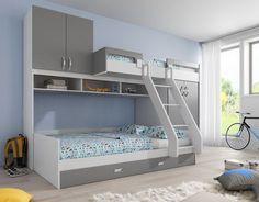 Detská/študentská izba s poschodovou posteľou  Rozmery: 2855x1573cm  Rozmer spodnej postele: 140 x 200cm  Výška: 2150cm  Presné rozmery najdete vo fotkách produktu  Material: MDF korpus biely - dvierka/šuflíky šedé