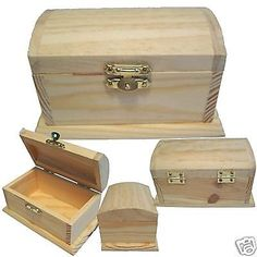 Wood Pirate Treasure Chest Trinket Jewelry Craft Coin Money Stash Art Safe Box