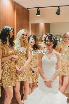 2015 Gold Sequins Short Bridesmaid Dresses Bling Scoop Ruffle Knee Length Wedding Party Dress Cheap Bridesmaid Gowns B12-in Bridesmaid Dresses from Weddings & Events on Aliexpress.com   Alibaba Group