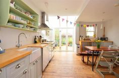 Kitchen Dining Area, Bunting, Open Shelves, Butler Sink - love the colours Home Kitchens, Kitchen Inspirations, Kitchen Dining Room, Kitchen Decor, Country Kitchen, Kitchen Plans, New Kitchen, Kitchen Redo, Kitchen Style