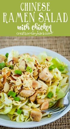 cabbage, lettuce, chunks of chicken, a light Asian dressing, and crunchy ramen noodle topping give this salad incredible taste and texture! -from Creations by Kara Ramen Cabbage Salad, Chinese Cabbage Salad, Asian Ramen Salad, Ramen Noodle Salad, Asian Chicken Salads, Cabbage Salad Recipes, Chicken Salad Recipes, Ham Salad, Ramen Noodles