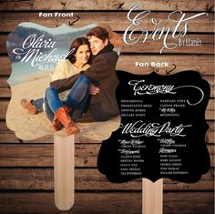 Printed Sample for 2 Dollars or Sets of 50 Custom Printed Wedding Program Fans with custom photo